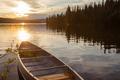 Frenchman Lake Yukon Canada canoe sunset scene - PhotoDune Item for Sale