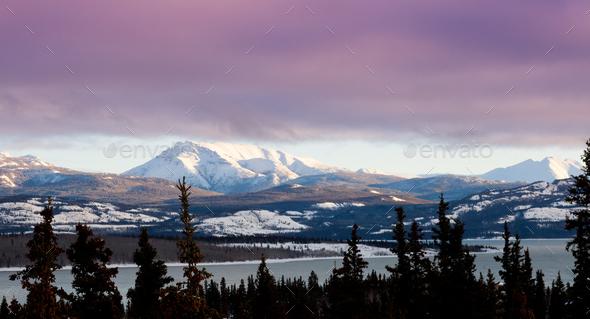Pink winter clouds Lake Laberge Yukon landscape - Stock Photo - Images