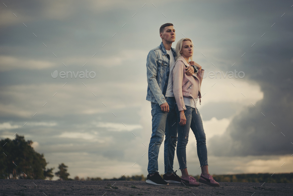 beautiful blonde girl with boyfriend - Stock Photo - Images