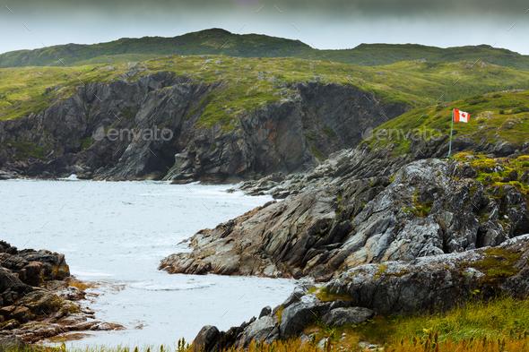 Rugged rocky coastal landscape Newfoundland Canada - Stock Photo - Images