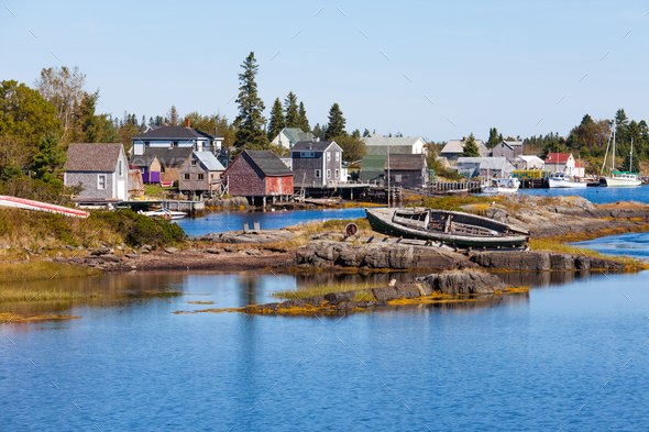 Fishing village of Blue Rock Nova Scotia NS Canada - Stock Photo - Images