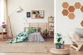 Botanic bedroom with cork board