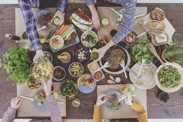 Top view of vegetarian brunch - Stock Photo - Images