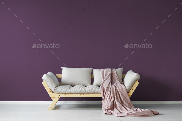 Violet day room interior - Stock Photo - Images