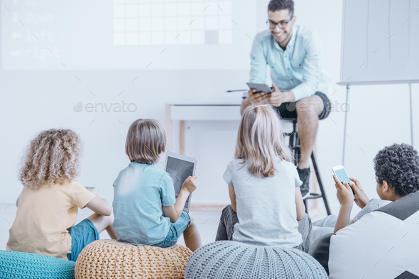 Lessons in an unusual classroom - Stock Photo - Images
