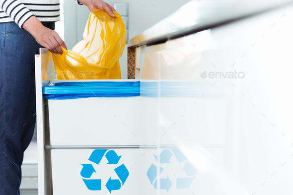Modern kitchen with recycling bin - Stock Photo - Images