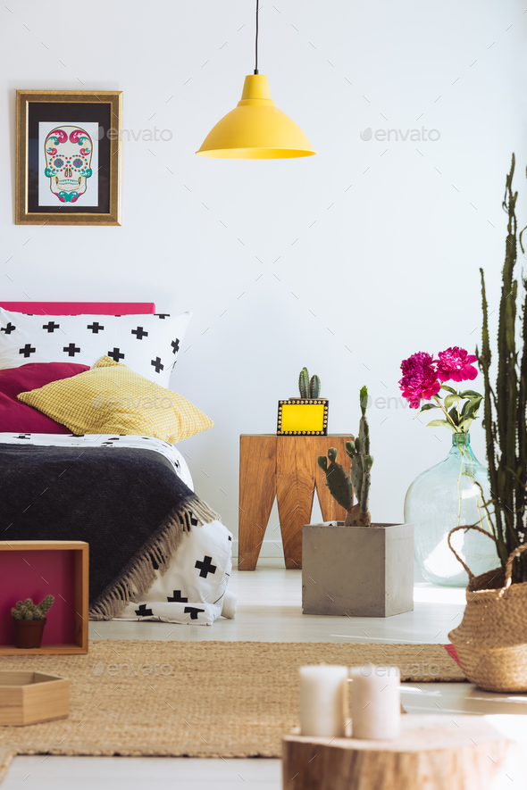 Folk modern bedroom with cactus - Stock Photo - Images