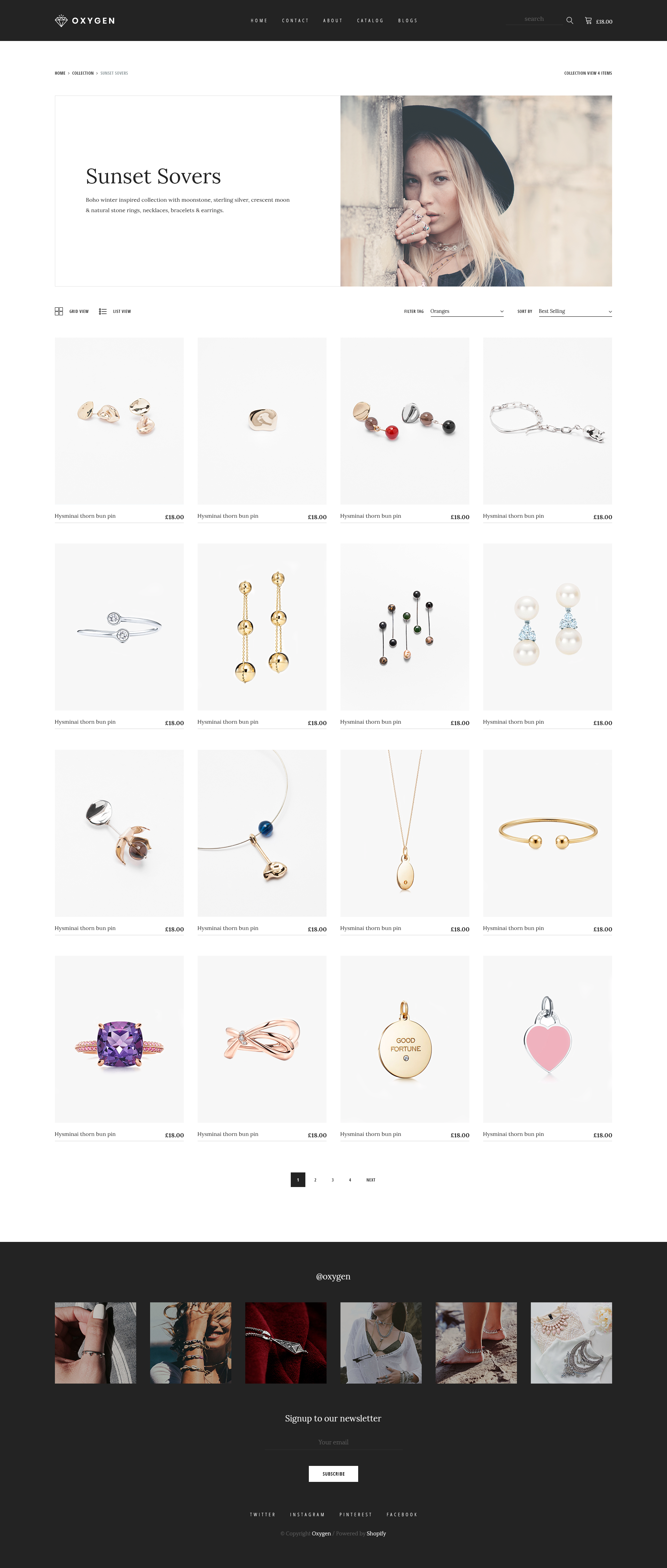 Oxygen Jewelry Ecommerce Psd Template