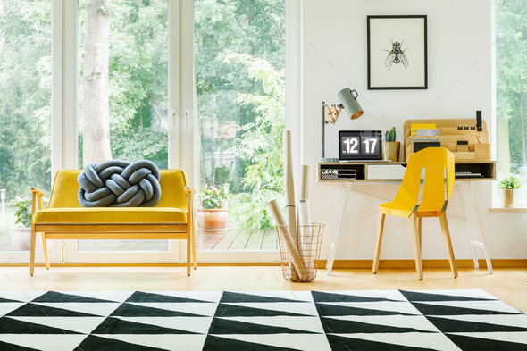Work area with yellow chair - Stock Photo - Images