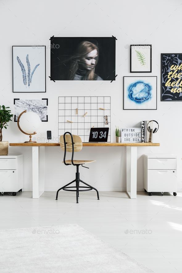 Stylish white workplace - Stock Photo - Images
