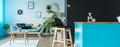 Monochromatic teal living room
