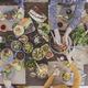 Festive vegetarian table, people eating - PhotoDune Item for Sale