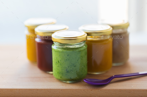 vegetable or fruit puree or baby food in jars - Stock Photo - Images