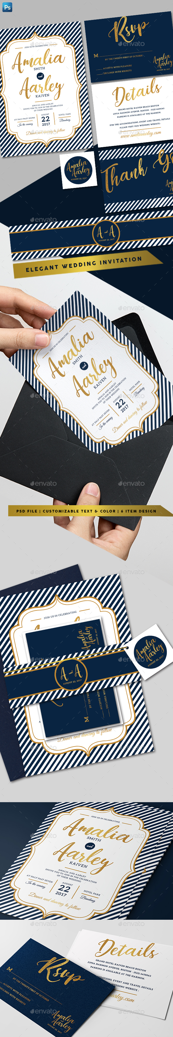 GraphicRiver Line Wedding Invitation 20875216