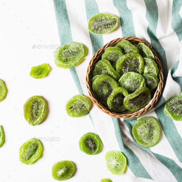 Dried kiwi isolated on white background - Stock Photo - Images