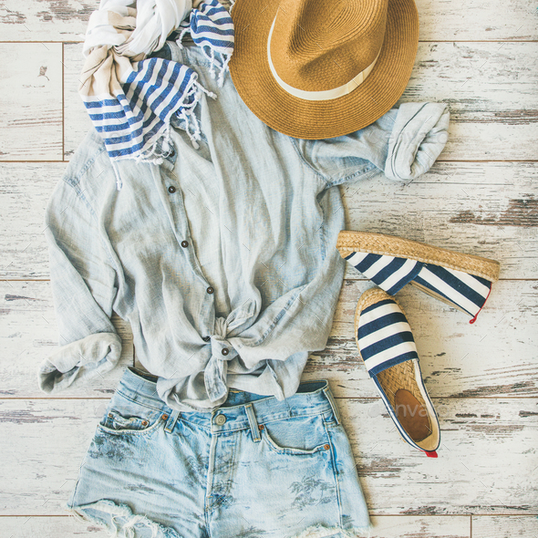 Summer outfit flatlay, parquet background, top view, square crop - Stock Photo - Images
