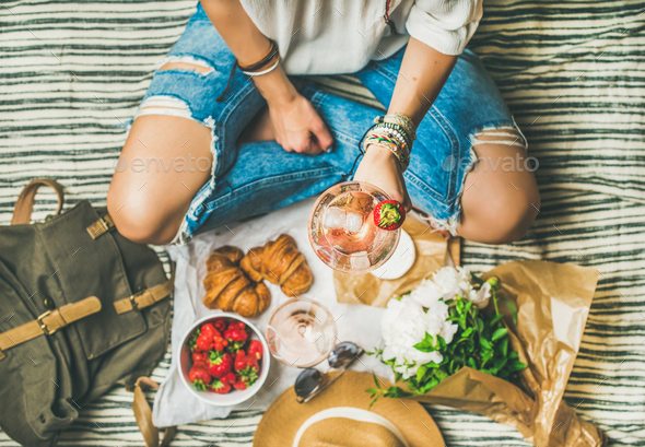 Outdoor gathering concept with rose wine and french snacks - Stock Photo - Images