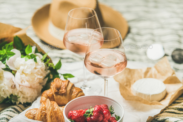 French style summer picnic setting and outdoor gathering concept - Stock Photo - Images