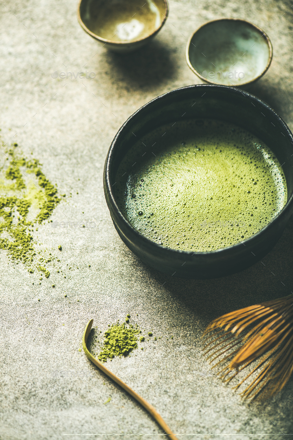Flat-lay of freshly brewed Japanese matcha green tea in bowl - Stock Photo - Images