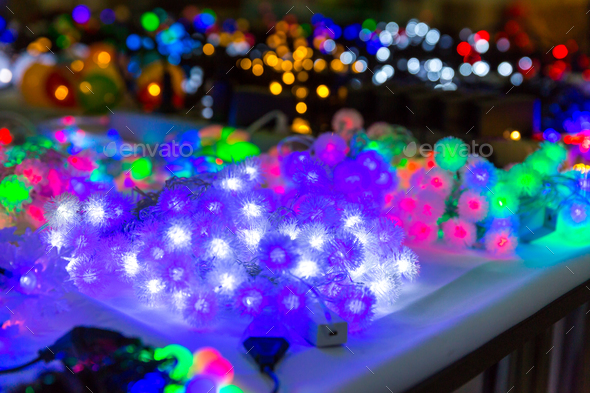Christmas decoration closeup, lights, xmas garland - Stock Photo - Images