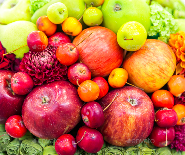 Apples and flowers closeup, fresh harvest - Stock Photo - Images