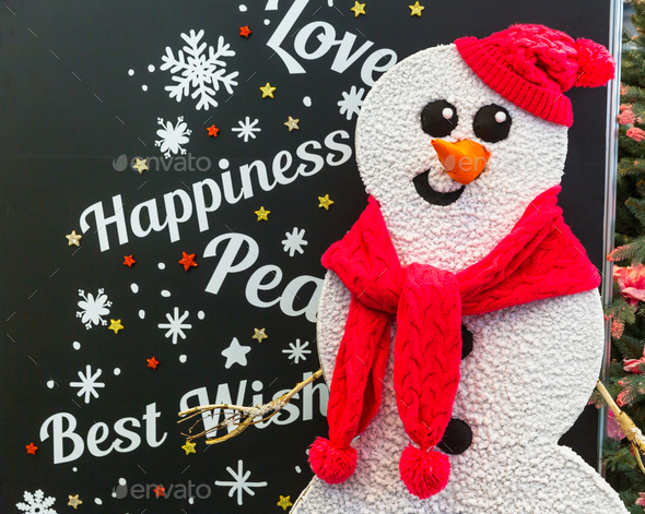 Merry Christmas card design with snowman - Stock Photo - Images