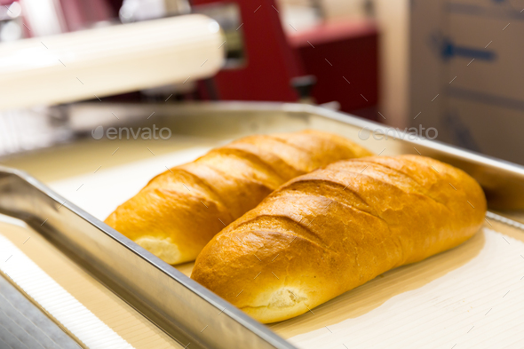 Professional bakery equipment, bread conveyor - Stock Photo - Images