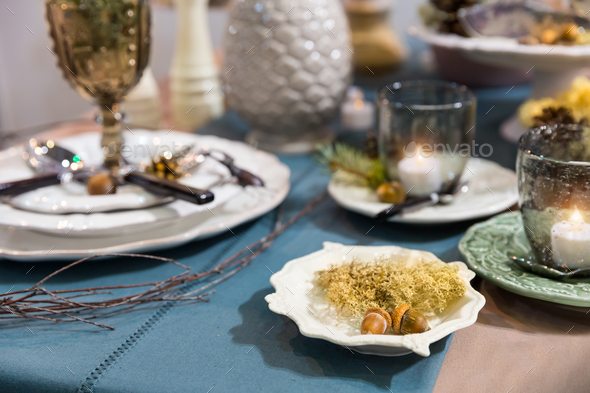 Table decorated with luxury dishes closeup, nobody - Stock Photo - Images
