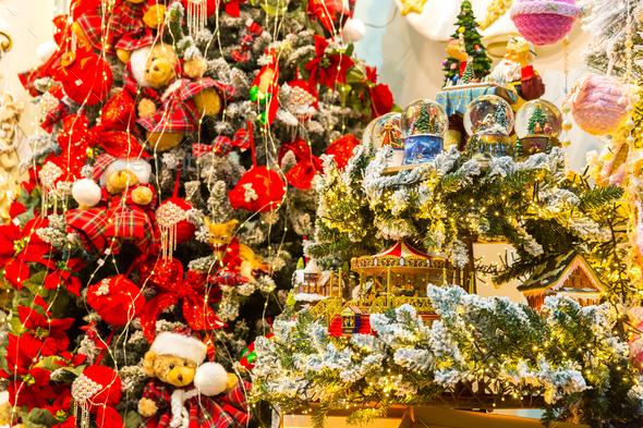Merry Christmas decor, xmas tree decorative design - Stock Photo - Images