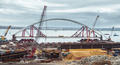 Construction of a bridge across the strait. Krymsky Bridge. The - PhotoDune Item for Sale