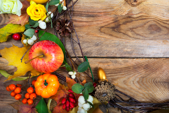 Holidays background with pumpkins, apple, maple leaves wreath, c - Stock Photo - Images