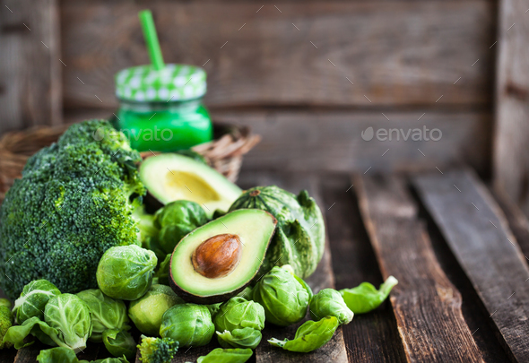 Assortment of fresh green vegetables - Stock Photo - Images