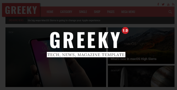 Greeky - Technology News, Magazine HTML Template