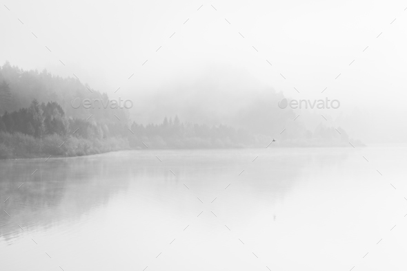 Black and White fine art lake with fog - Stock Photo - Images