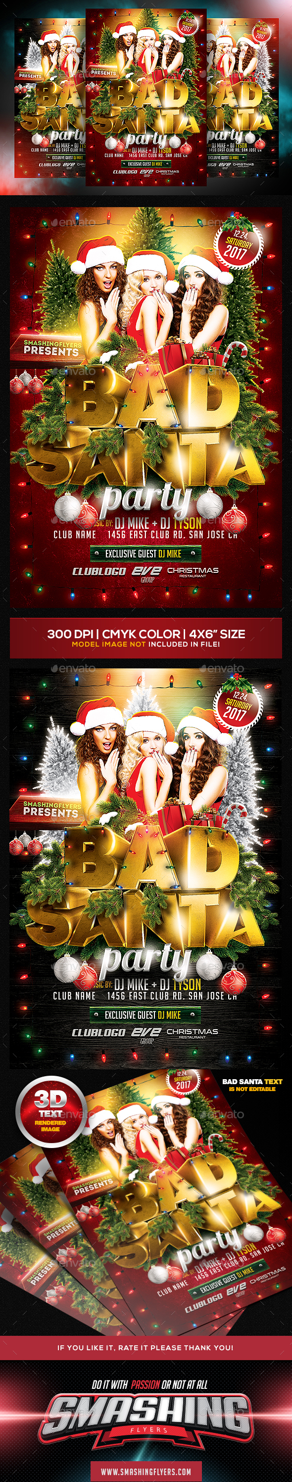 Bad Santa Christmas Party Flyer