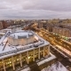 Moscow City Russia Skyline Aerial Panoramic Top View Day To Night  Urban Winter Snow Scener