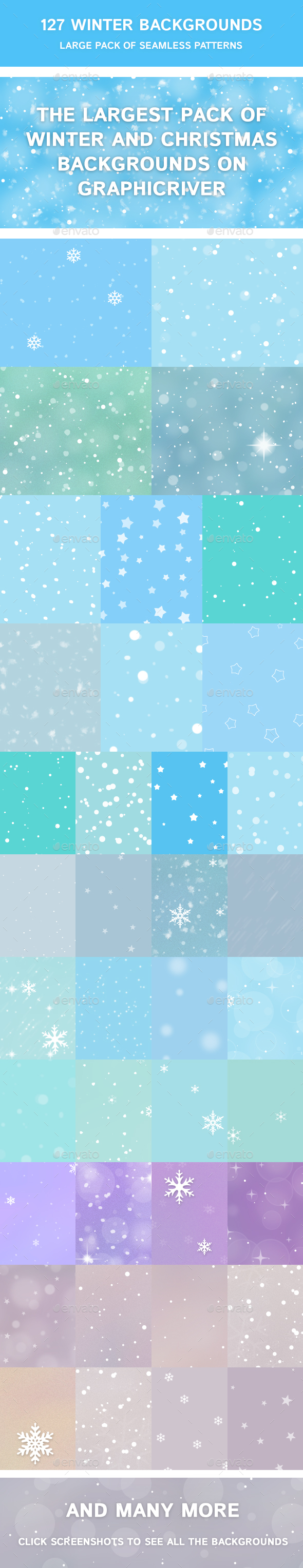 127 Winter Backgrounds - Large Pack of Seamless Patterns - Backgrounds Graphics