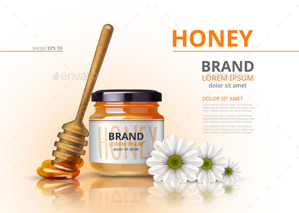GraphicRiver Realistic Acacia Honey Jar Mockup 20876367