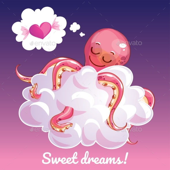 Greeting Card with a Cartoon Octopus on a Cloud - Animals Characters