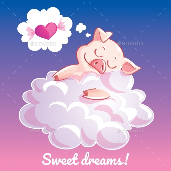 Greeting Card with a Cartoon Pig on a Cloud - Animals Characters