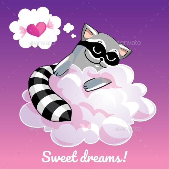 GraphicRiver Greeting Card with a Cartoon Raccoon on a Cloud 20876613