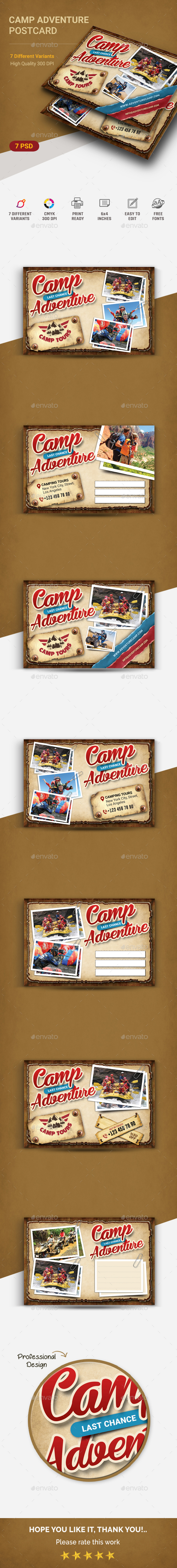 GraphicRiver Camping Adventure Postcard 20876726