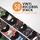 50 Vinyl Records Stack Rigged