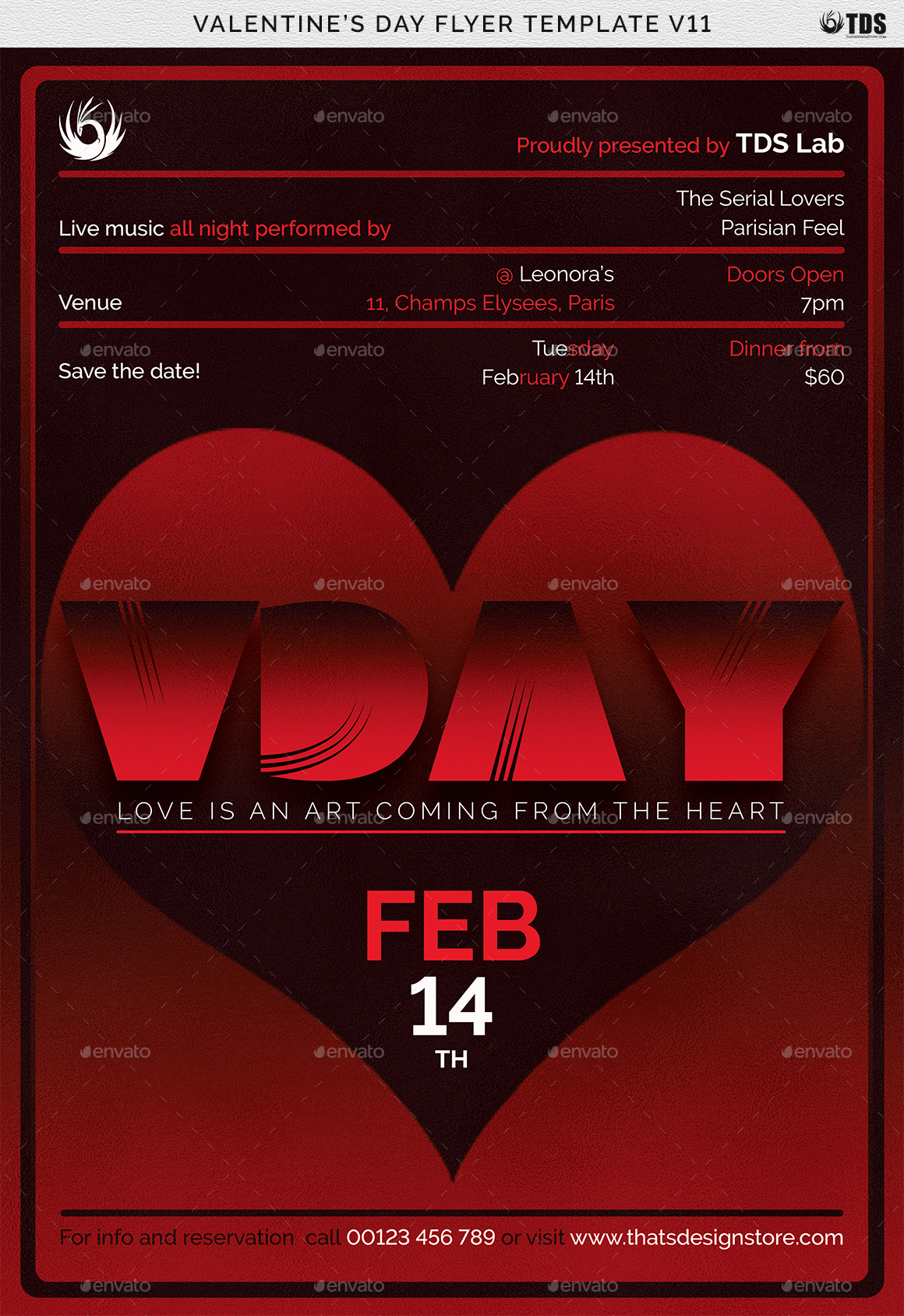 Valentines Day Flyer Template V By Lou GraphicRiver - Save the date flyer template