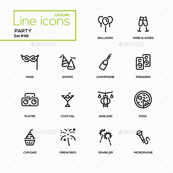 Leisure Concept, Party - Line Design Icons Set - Miscellaneous Icons
