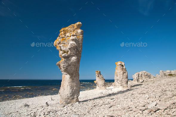 limestone pillars at Faro island Sweden - Stock Photo - Images