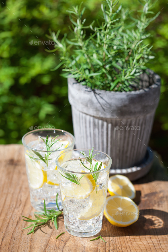refreshing lemonade drink with rosemary in glasses - Stock Photo - Images