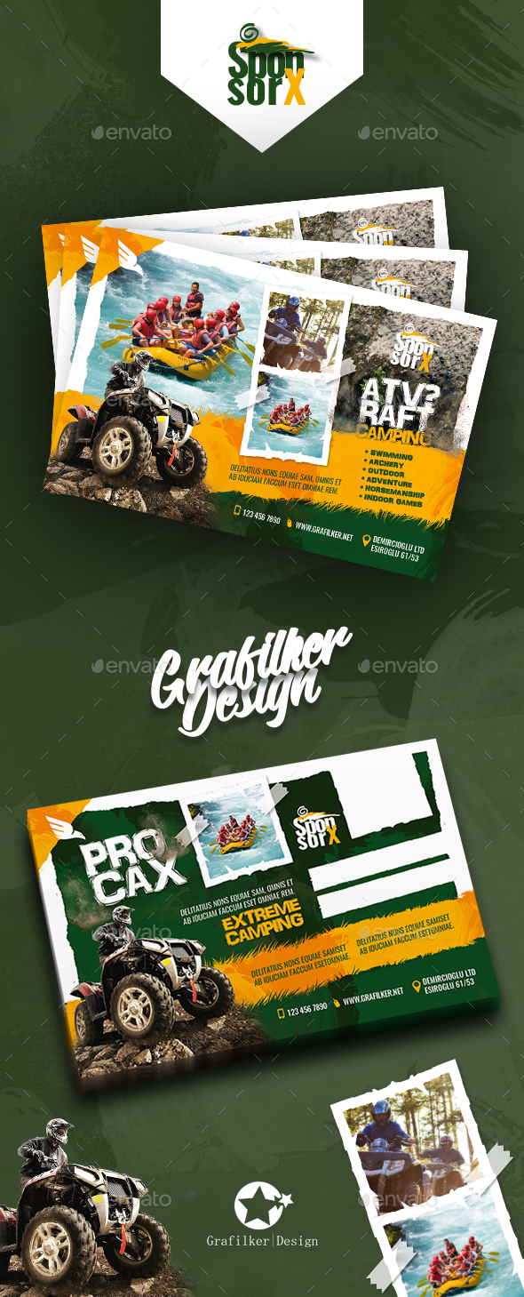 GraphicRiver Camping Adventure Postcard Templates 20877499