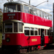 Vintage Electric Tram Departing