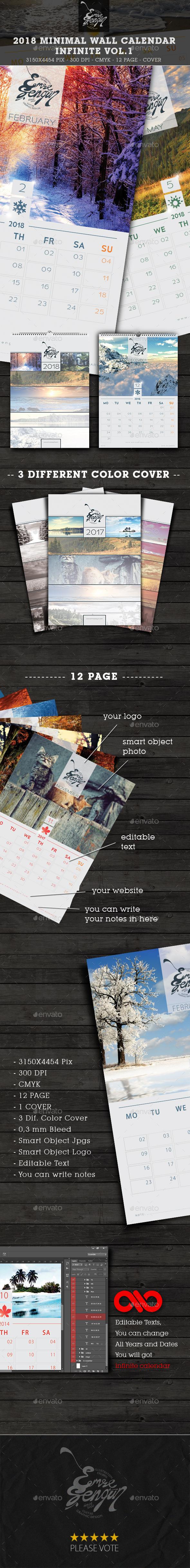 2018 - 2017 Calendar Minimal Wall Infinite Vol.1 - Calendars Stationery